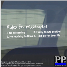 1 x Rules for Passengers-Window,Car,Van,Sticker,Sign,Meme,Funny,Comedy,Racing
